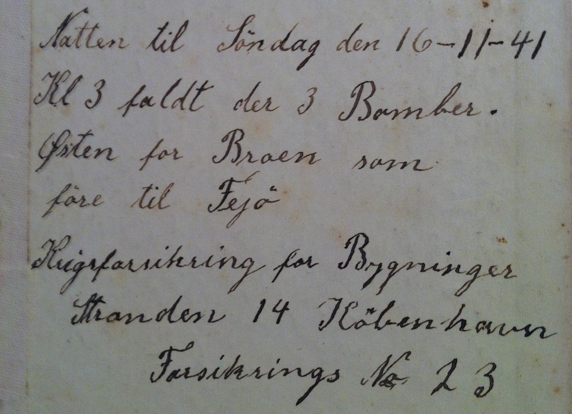Notat af Karl Pedersen på Skaløgård - erstatning for smadrede ruder