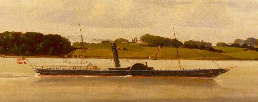 Maleri af C. Olsen, 1855: H/S FLORA passerer Petersværft på Sydsjællands kyst vest for Kallehave.
